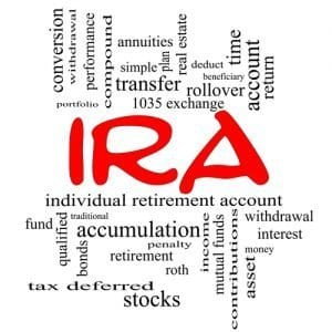 IRA Word Cloud Concept in red caps with great terms such as individual, retirement, account, plan and more.
