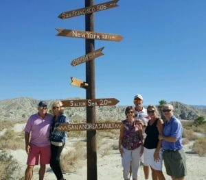Hiking the San Andreas Fault in Palm Desert with Joe and Debbie Windau, Suzanne and Jim Amstutz, and Mark.