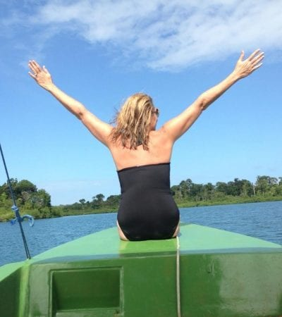 Kat on boat Panama